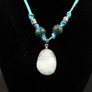 """Jewelry - Blue Crystal Stone Leather Cord Necklace Hangs 15"""""""